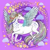 Beautiful unicorn on a pink background stock illustration