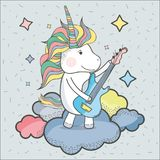 Beautiful unicorn play guitar instrument. Vector illustration Royalty Free Stock Photos