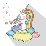 Beautiful unicorn play trumpet instrument. Vector illustration Stock Photography