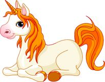 Beautiful unicorn with red mane and tail. Lovely  unicorn with red mane and tail is resting and looking at us Royalty Free Stock Images