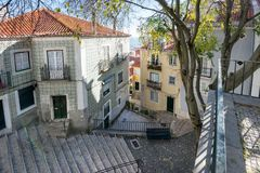 Alfama streets in Lisbon, Portugal royalty free stock image
