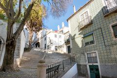 Alfama streets in Lisbon, Portugal royalty free stock photography