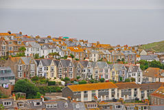 Beautiful and unique architecture of houses in St Ives Cornwall. Houses are well aligned in a row from top to bottom with nice colour Royalty Free Stock Photos