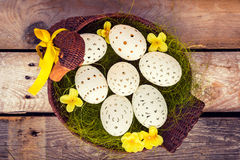 Beautiful unique Easter eggs in a basket Royalty Free Stock Photo