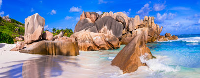 Beautiful unique rocky beach Anse Cocos in La digue island, Seyc Stock Photography
