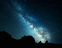Beautiful Universe, night landscape with Milky Way. Starry sky. Night landscape with colorful Milky Way at mountains. Starry sky with rocks at summer. Beautiful royalty free stock photography
