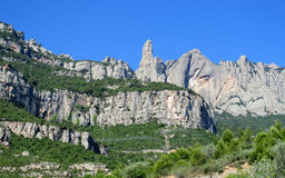 Beautiful unusual shaped mountain rock formations of Montserrat, Spain Royalty Free Stock Photos