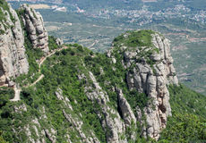 Beautiful unusual shaped mountain rock formations of Montserrat, Spain Royalty Free Stock Photography