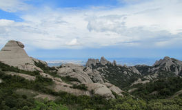 Beautiful unusual shaped mountain rock formations of Montserrat, Spain Stock Image