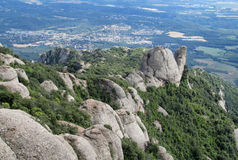 Beautiful unusual shaped mountain rock formations of Montserrat, Spain Royalty Free Stock Photo