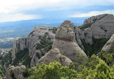 Beautiful unusual shaped mountain rock formations of Montserrat, Spain Stock Photos