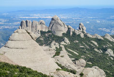 Beautiful unusual shaped mountain rock formations of Montserrat, Spain Stock Images