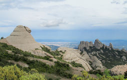 Beautiful unusual shaped mountain rock formations of Montserrat, Spain Royalty Free Stock Image