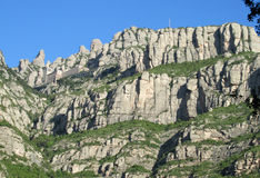 Beautiful unusual shaped mountain rock formations of Montserrat, Spain. Beautiful unusual shaped mountain rock formations of Montserrat near Barcelona in Spain royalty free stock photo