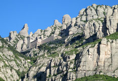 Beautiful unusual shaped mountain rock formations of Montserrat, Spain Royalty Free Stock Images