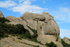Beautiful unusual shaped mountains in Mont serrat, Spain Royalty Free Stock Photo
