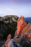 Sunset in the mountains. In the beautiful Ural mountains sunset! The rocks are illuminated by the sun. it`s an amazing landscape.Panorama of the mountains Stock Photos