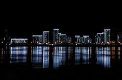 Beautiful urban architecture at night stock photos