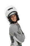 Beautiful urban biker woman with a helmet isolated on white. Beautiful urban biker woman with a helmet isolated on a white background Royalty Free Stock Image