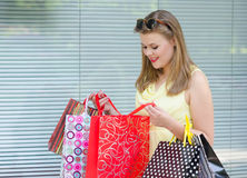 Beautiful urban girl having fun in shopping Stock Photo