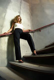 Beautiful Urban Girl on the Stairs Stock Photography