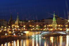 Beautiful urban landscape. With views of the Kremlin at night in Moscow Russia Stock Photo