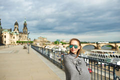 Beautiful urban woman in Dresden Royalty Free Stock Images