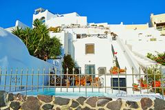 Beautiful vacation hotel buildings  Santorini Greece Stock Photos