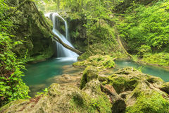Beautiful Vaioaga waterfall,Beusnita Natural Park,Romania. Vaioaga waterfall and clean river,Beusnita National Park,Romania Stock Photo