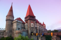 Beautiful Vajdahunyad castle in Transylvania in the morning. Vajdahunyad castle the residence of former Hungarian governor Hunyadi on a beautiful summer morning Royalty Free Stock Image