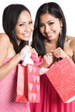 Beautiful valentine asian women. Two beautiful asian women holding valentine gifts Stock Photos