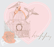 Beautiful Valentine background with cage. Valentine hand drawing background with birds, flowers and cage Stock Photos