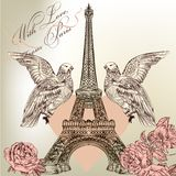 Beautiful Valentine card with detailed vector Eiffel tower, rose Royalty Free Stock Images