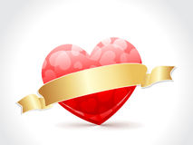 A beautiful valentine card with golden ribbon Royalty Free Stock Photos