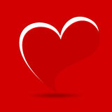 A beautiful valentine card in red background. Royalty Free Stock Photo