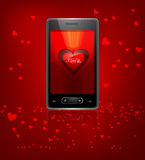 Beautiful Valentine Cell Phone reflection colorful with hearts. Background Stock Photos