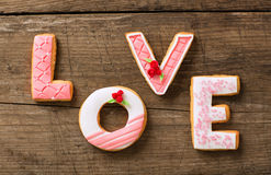 Beautiful valentine day gingerbread cookies Stock Images