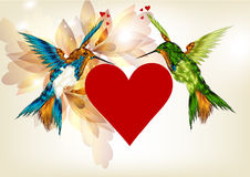 Beautiful valentine greeting vector card with heart and colorful Royalty Free Stock Photos