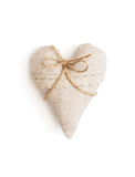 Beautiful valentine heart of fabric with ribbon Stock Photos