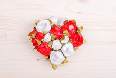 Beautiful valentine hearts on the board with space for text Stock Images
