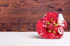 Beautiful valentine hearts on the board with space for text Royalty Free Stock Images