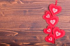 Beautiful valentine hearts on the board with space for text Royalty Free Stock Image