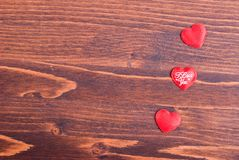 Beautiful valentine hearts on the board with space for text Stock Photo