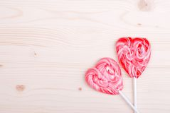 Beautiful valentine hearts on the board with space for text Royalty Free Stock Photo