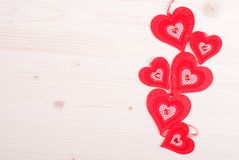 Beautiful valentine hearts on the board with space for text Stock Image