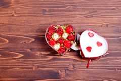 Beautiful valentine hearts on the board with space for text Stock Photography