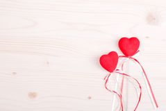 Beautiful valentine hearts on the board with space for text Royalty Free Stock Photography