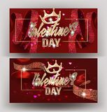 Beautiful Valentine`s Day banners with silk  ribbons with pattern, crowns and  frames. Vector illustration Stock Photo