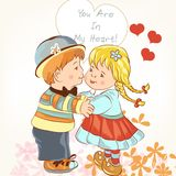 Beautiful Valentine's Day card  with couple of girl and boy hold. Valentine's Day card with couple of girl and boy holding hands and kiss Stock Images