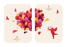Beautiful Valentine's Day Cards design with abstract heart, Cupid and birds. Royalty Free Stock Image